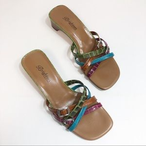 Brighton Colorful Buckle Strap Leather Sandals